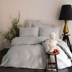 Issimo Light Gray satin sheet with pillowcases 50 x 70 cm