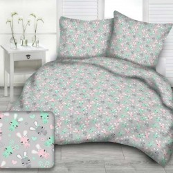 RABBITS cotton bedding with children's motif - gray/turquoise