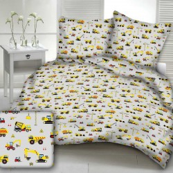 CONSTRUCTION WORKER cotton bedding with children's motif - gray