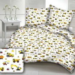CONSTRUCTION WORKER cotton bedding with children's motif - yellow