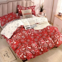 Snowflake bed linen - red